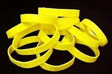 "Yellow Awareness Bracelets 100 Piece Lot Silicone Wristband Cancer Cause 8"" New"