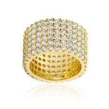 Yellow Gold Tone Round Cut Pave Wide CZ Cocktail Eternity Ring Band Sizes 5-10