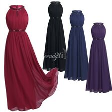 HALTER Long Chiffon Evening Formal Party Ball Gown Prom Women Bridesmaid Dress