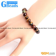 Handmade Natural Multi-Color Tiger's Eye Beaded Stretchy Bracelet Free Shipping