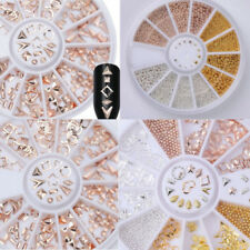 Rose Gold Rhinestones Rivet Studs 3D Nail Art Decoration In Wheel Steel Bead New