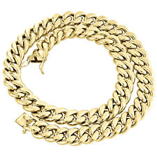 Mens 10K Yellow Gold 3D Hollow Miami Cuban Link Chain 15mm Box Clasp 20-30 Inch