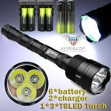 TrustFire 3x  XM-L T6 LED 5mode 48000lm Flashlight Torch + 18650 BTY+Charger :