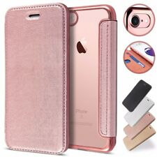Soft Clear Rubber Back Holder Flip Wallet Leather Case Cover For iPhone Samsung