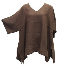 Match Point Kimono Tunic Linen NWT  Chocolate Brown Oversized   S M L XL