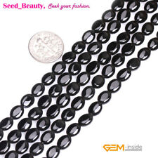"""5x7mm Oval Gemstone Black Agate Beads for Jewelry Making Strand 15"""""""
