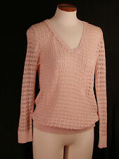 Ann Taylor Loft Outlet 3/4 Sleeve V Neck Ribbed Open Stitch Sweater NWT