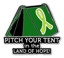 Lime Green Cancer Awareness Ribbon Pin Pitch Tent Land Hope Camping Camper New