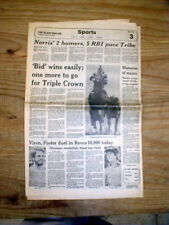 2 1979 hdlne newspapers SPECTACULAR BID WINS PREAKNESS horse race LOSES BELMONT