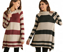 UMGEE Womens Turtle Neck Trendy Chic Warm Striped Sweater Dress Tunic Top S M L