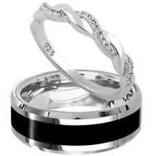 Tungsten Black Band 925 Sterling Silver Twisted CZ Wedding Anniversary Ring Set