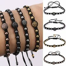 New Micro Pave Beads Adjustable Black Rope Hand Bangle Bracelet Men Jewelry Gift