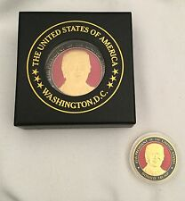 """TRUMP CHALLENGE COIN COASTER  Large 2 1/2"""" GOLD ENAMEL in BOX GREAT GIFT USA"""