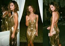 Emrata Womens Cross Back Ruched Metallic Bodycon Dress Open Back Party Christmas