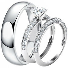 Solid 925 Sterling Silver Engagement Wedding CZ Ring Set & Stainless Steel Band