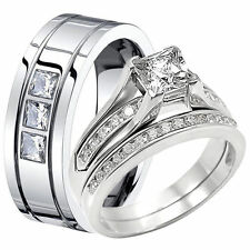 Princess Cut Sterling Silver Engagement CZ Wedding Ring Set Stainless Steel Band