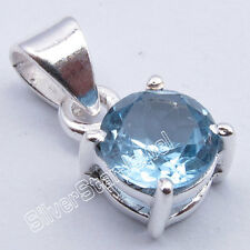 925 Sterling Silver Real Gemstone 4-Prong Setting Pendant ! Highly Polished Gift