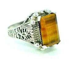RARE TIGER EYE VICTORIAN DESIGN 925 STERLING SILVER MENS RING #0125