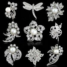 Vintage Silver Flower Crystal Wedding Bridal Bouquet Pearl Brooch Pin Jewellery