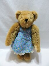 "Vermont Teddy Bear Brown Jointed Plush Lace Dress Blue Floral 15"" Stuffed Animal"