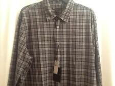 John Varvatos Button Down Plaid Shirt Classic Fit Black Gray NWT $119