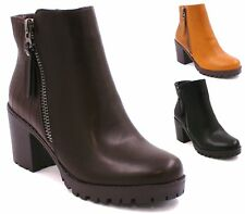 WOMENS LADIES CHELSEA CHUNKY MID BLOCK HEEL WINTER ANKLE GRIP SOLE SHOES BOOTS