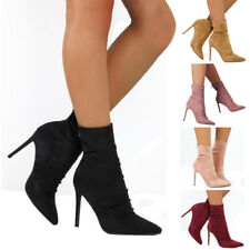 Womens Ladies Stiletto High Heel Tight Ankle Boots Winter Zip Up Boot Shoes Size