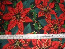 Sale Christmas fabric material Fat Quarter 50 x 47 cms Green Poinsettia