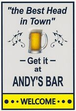 """Funny Bar Beer Refridgerator Magnet - """"Get the Best Head in Town at""""  - Names"""