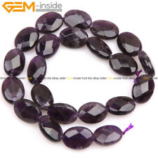 Natural Oval Faceted Gemstone Purple Amethyst Quartz Beads Jewelry Making 15""