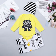3PCS Newborn  Baby Boy Girl Infant Romper Jumpsuit+Pants+Hat Clothes Set