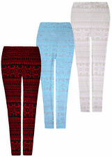 New Ladies Warm Aztec Thick Chunky Leggings Womens Ribbed Knitted Pants UK S/M/L