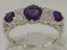 English Hallmarked Solid 925 Sterling Silver Natural Amethyst Opal Ring