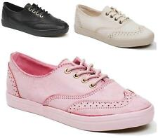 NEW WOMENS TRAINERS OXFORD BROGUE LACE UP PUMPS FLAT PLIMSOLLS GYM SPORTS SHOES