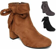 NEW LADIES WOMENS FAUX SUEDE ANKLE KNOT PIXIE CHELSEA SMART ANKLE BOOTS SHOES