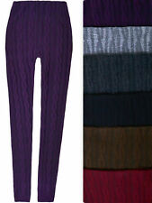Ladies New Plain Pants Warm Thick Ribbed Knitted Womens Leggings Sizes S M L XL