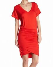 The Vanity Room NEW Red V-Neck Ruched Women's Size XS Sheath Dress $90 #928-
