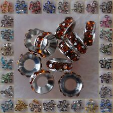 h2048-2075 Wholesale Big Hole Czech Crystal Rhinestone Pave Rondelle Spacer Bead