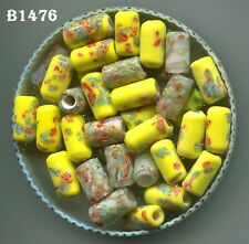 *Vintage Japanese Millefiori Tube & Round Flower Beads, Yellow & Crystal B1476.