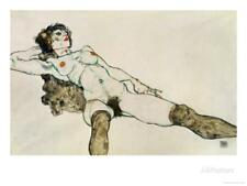 Reclining Female Nude with Legs Spread, 1914 Stretched Canvas Print