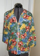 PALM HARBOUR KNIT TOP SHIRT SIZE S - PXL FLORAL PRINT HOOD ZIPPER STRETCH NWT
