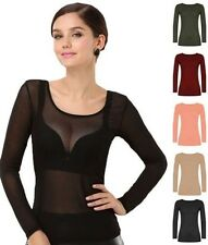 New Womens Scoop Neck Sheer Mesh Long Sleeve Ladies See Through Top