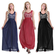 Evening Wedding Chiffon Lace Formal Ball Gown Long Prom Bridesmaid Maxi Dress