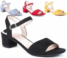 WOMENS LOW BLOCK HEEL PEEP TOE SANDAL PARTY CASUAL BUCKLE ANKLE STRAP SHOES 3-8