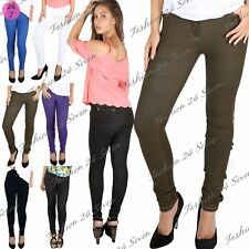 Womens Ladies Slim Skinny Fit Fitted Coloured Jeans Trousers Leggings Jeggings