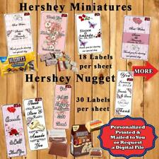 Wedding Favor Hershey Miniature & Nugget Candy Wrappers 1 Sheet Personalized