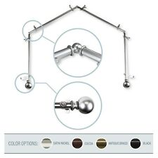 """Cleo 13/16"""" 4-Sided Bay Window Curtain Rod 28-48 inch (each side) - 4 colors"""
