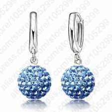 Stunning Multi Colors 1 Pair Real Pure 925 Sterling Silver Austrian Pave Disco B