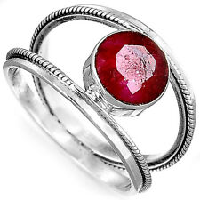 Solid 925 Sterling Silver Ring Genuine Ruby Gemstone Handmade Jewelry Size