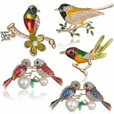 Fashion Animal Double Birds Crystal Pearl Brooch Pin Women Lady Jewelry Gift